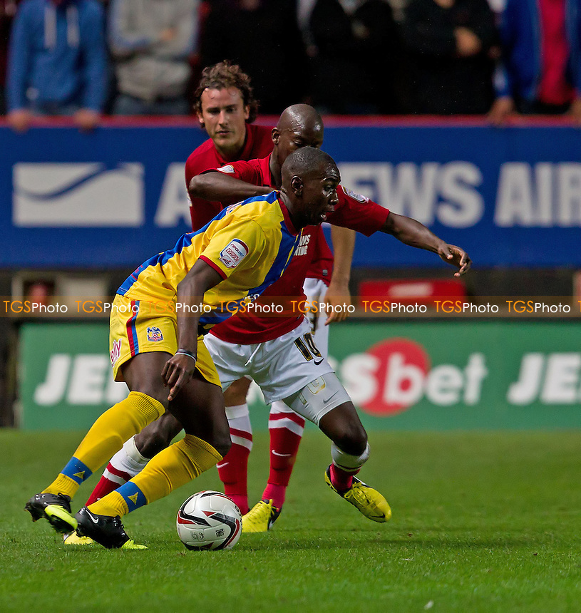 Yannick Bolasie, Crystal Palace FC cuts inside Bradley Wright-Phillips, Charlton Athletic FC - Charlton Athletic vs Crystal Palace - NPower Championship Football at The Valley, London - 14/09/12 - MANDATORY CREDIT: Ray Lawrence/TGSPHOTO - Self billing applies where appropriate - 0845 094 6026 - contact@tgsphoto.co.uk - NO UNPAID USE.