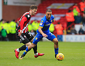 10th February 2018, Bramall Lane, Sheffield, England; EFL Championship football, Sheffield United versus Leeds United; Kemar Roofe of Leeds United gets past Ricky Holmes of Sheffield United