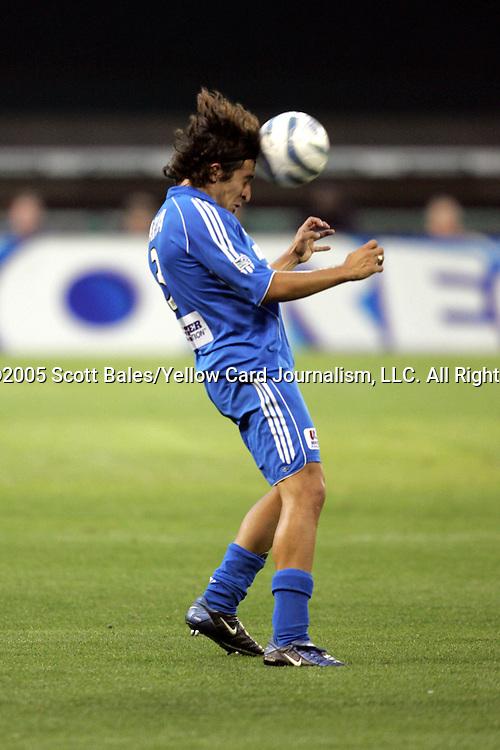 21 May 2005: Kansas City's Nick Garcia heads the ball. DC United defeated the Kansas City Wizards 3-2 at RFK Stadium in Washington, DC in a regular season Major League Soccer game. .