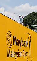 Thongchai Jaidee (THA) plays off the platform during the Star Experience competition during the preview days of the 2014 Maybank Malaysian Open at the Kuala Lumpur Golf & Country Club, Kuala Lumpur, Malaysia. Picture:  David Lloyd / www.golffile.ie