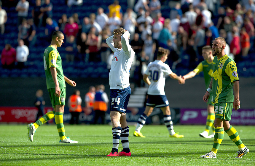 Preston North End's Will Hayhurst shows his disappointment at the final whistle after his side dropped two points at home with a 1-1 draw<br /> <br /> Photographer Stephen White/CameraSport<br /> <br /> Football - The Football League Sky Bet League One - Preston North End v Notts County - Saturday 9th August 2014 - Deepdale - Preston<br /> <br /> &copy; CameraSport - 43 Linden Ave. Countesthorpe. Leicester. England. LE8 5PG - Tel: +44 (0) 116 277 4147 - admin@camerasport.com - www.camerasport.com