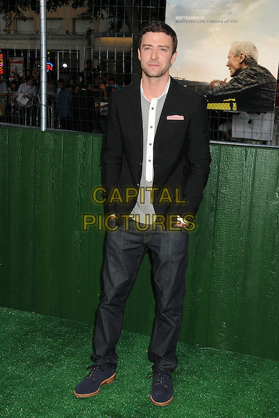 """Justin Timberlake.""""Trouble With The Curve"""" Los Angeles Premiere held at the Regency Village Theatre, Westwood, California, USA..September 19th, 2012.full length top suit jacket jeans denim hands in pockets black grey gray white stubble facial hair    .CAP/ADM/BP.©Byron Purvis/AdMedia/Capital Pictures."""