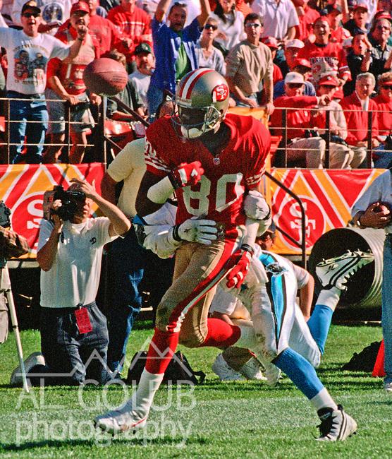 San Francisco 49ers vs. Carolina Panthers at Candlestick Park Sunday, November 5, 1995.  Panthers beat 49ers  13-7.  San Francisco 49ers wide receiver Jerry Rice (80).