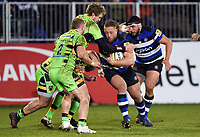 Max Lahiff of Bath Rugby takes on the Northampton Saints defence. Aviva Premiership match, between Bath Rugby and Northampton Saints on February 9, 2018 at the Recreation Ground in Bath, England. Photo by: Patrick Khachfe / Onside Images