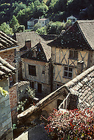 Europe/France/Midi-Pyrénées/46/Lot/Vallée du Lot/Saint-Cirq-Lapopie : Le village médiéval<br /> PHOTO D'ARCHIVES // ARCHIVAL IMAGES<br /> FRANCE 1990