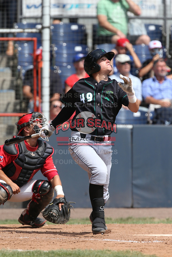 Blake Headley (49) of the Eugene Emeralds bats during a game against the Vancouver Canadians at Nat Bailey Stadium on July 22, 2015 in Vancouver, British Columbia. Vancouver defeated Eugene, 4-2. (Larry Goren/Four Seam Images)