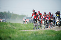 BMC Racing Team through sector 12: Pavé d'Orchies<br /> <br /> 2014 Paris-Roubaix reconnaissance
