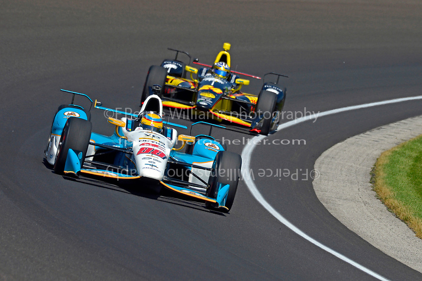 Verizon IndyCar Series<br /> Indianapolis 500 Carb Day<br /> Indianapolis Motor Speedway, Indianapolis, IN USA<br /> Friday 26 May 2017<br /> Gabby Chaves, Harding Racing Chevrolet, Sage Karam, Dreyer &amp; Reinbold Racing Chevrolet<br /> World Copyright: F. Peirce Williams