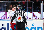 Stockholm 2013-12-28 Ishockey Hockeyallsvenskan Djurg&aring;rdens IF - Almtuna IS :  <br /> Almtuna Marcus H&ouml;gstr&ouml;m diskuterar med med domare Johan Nordl&ouml;f  efter att ha blivit utvisad i den tredje perioden<br /> (Foto: Kenta J&ouml;nsson) Nyckelord:  utvisning utvisad utvisas