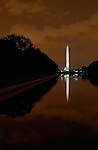 Washington Monument at Night, Lincoln Reflecting Pool, National Mall, Washington DC