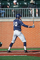 Will LaRue (10) of the Xavier Musketeers at bat against the Charlotte 49ers at Hayes Stadium on March 3, 2017 in Charlotte, North Carolina.  The 49ers defeated the Musketeers 2-1.  (Brian Westerholt/Four Seam Images)