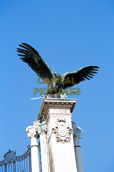 Turul eagle statue (Turul Szobor), outside Castle and Palace complex, Castle Hill District, Budapest, Hungary