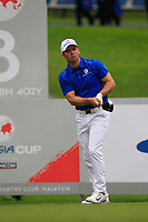 Paul Casey (Europe) on the 8th tee during the Friday Foursomes of the Eurasia Cup at Glenmarie Golf and Country Club on the 12th January 2018.<br /> Picture:  Thos Caffrey / www.golffile.ie