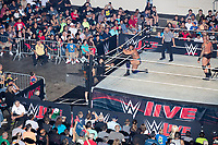 WWE Champion Jinder Mahal (kneeling) fights against Randy Orton at a WWE Live Summerslam Heatwave Tour event at the MassMutual Center in Springfield, Massachusetts, USA, on Mon., Aug. 14, 2017. Mahal lost the match.