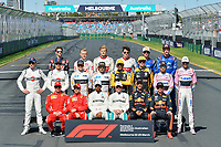March 25, 2018: Drivers pose for the start of season group photograph at the 2018 Australian Formula One Grand Prix at Albert Park, Melbourne, Australia. Photo Sydney Low