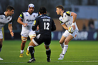 Rhys Priestland of Bath Rugby looks to pass the ball. Aviva Premiership match, between Newcastle Falcons and Bath Rugby on January 2, 2016 at Kingston Park in Newcastle upon Tyne, England. Photo by: Patrick Khachfe / Onside Images