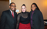 WATERBURY ,  CT-101219JS38--Kristopher Reese, Pastor at Grace Baptist Church with Samantha deJesus and Jacqueline LeGree,  at the NAACP of Greater Waterbury's 55th annual Mind Body and Soul Freedom Fund Dinner held Saturday at the Courtyard Marriott in Waterbury. <br />  Jim Shannon Republican-American