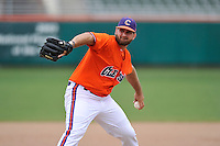 Junior pitcher Andrew Towns (31) of the Clemson Tigers in a fall practice intra-squad Orange-Purple scrimmage on Saturday, September 26, 2015, at Doug Kingsmore Stadium in Clemson, South Carolina. (Tom Priddy/Four Seam Images)