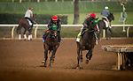ARCADIA, CA - APRIL 01: Bolt d'Oro with Agapito Delgadillo aboard (left) workout for the Santa Anita Derby at Santa Anita Park on April 01, 2018 in Arcadia, California. (Photo by Alex Evers/Eclipse Sportswire/Getty Images)