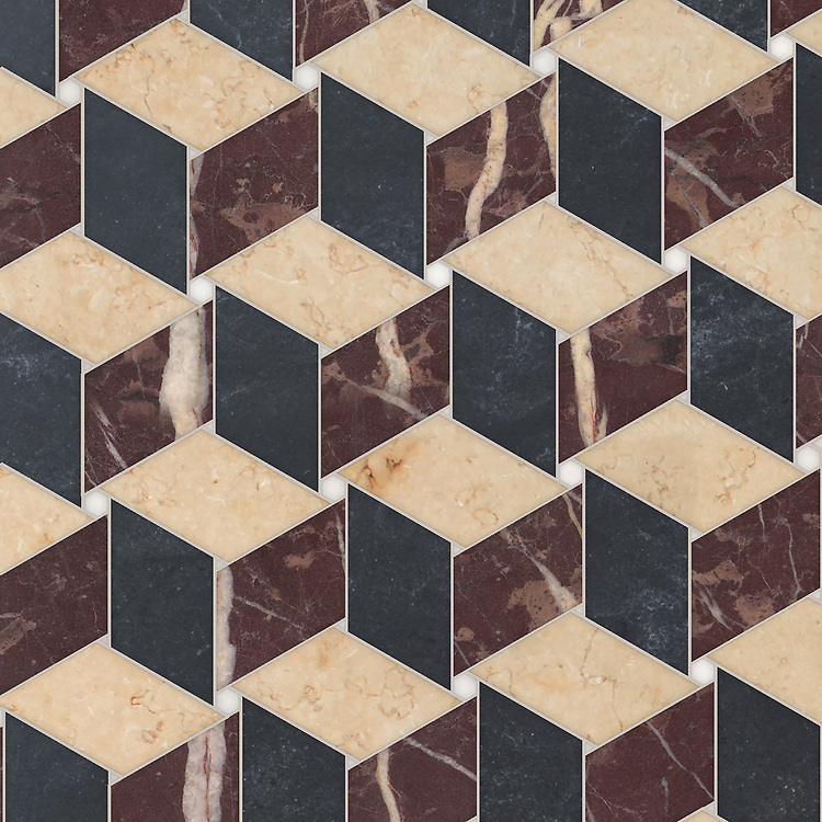 Pinwheel, a waterjet stone mosaic, shown in polished Afyon White, Chinese Purple, honed Sylvia Gold, and Orpheus Black, is part of the Semplice® collection for New Ravenna.