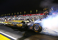 Feb 7, 2014; Pomona, CA, USA; NHRA top fuel dragster driver Khalid Albalooshi during qualifying for the Winternationals at Auto Club Raceway at Pomona. Mandatory Credit: Mark J. Rebilas-
