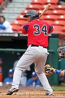 Pawtucket Red Sox first baseman Mauro Gomez #34 during a game against the Buffalo Bisons at Coca-Cola Field on April 15, 2012 in Buffalo, New York.  Buffalo defeated Pawtucket 10-9 in ten innings.  (Mike Janes/Four Seam Images)