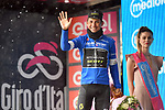 Esteban Chaves (COL) Mitchelton-Scott retains the Maglia Azzurra on the podium at the end of Stage 8 of the 2018 Giro d'Italia, running 209km from Praia a Mare to Montevergine di Mercogliano, Italy. 12th May 2018.<br /> Picture: LaPresse/Massimo Paolone | Cyclefile<br /> <br /> <br /> All photos usage must carry mandatory copyright credit (&copy; Cyclefile | LaPresse/Massimo Paolone)