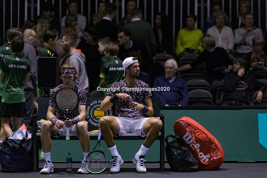 Rotterdam, The Netherlands, 9 Februari 2020, ABNAMRO World Tennis Tournament, Ahoy, Doubles: Karen Khachanov (RUS) and Andrey Rublev (RUS). Photo: www.tennisimages.com