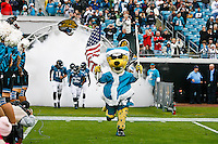 December 11, 2011:  Jacksonville Jaguars mascot Jaxson De Ville leads the Jaguars out of the tunnel prior to the start of first half action between the Jacksonville Jaguars and the Tampa Bay Buccaneers played at EverBank Field in Jacksonville, Florida.  ........