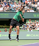 March 25 2017:  Roger Federer (SUI) defeats Frances Tiafoe (USA) by 7-6, 6-3, at the Miami Open being played at Crandon Park Tennis Center in Miami, Key Biscayne, Florida.