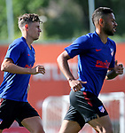 Atletico de Madrid's Marcos Llorente (l) and Renan Lodi during training session. June 1,2020.(ALTERPHOTOS/Atletico de Madrid/Pool)