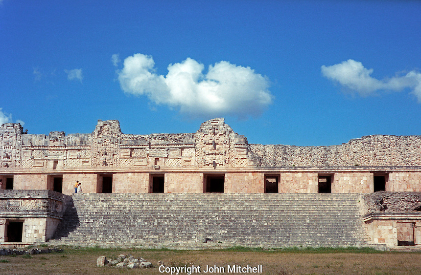 Facade of the Nunnery Quadrangle at the Maya ruins of Uxmal, Yucatan, Mexico