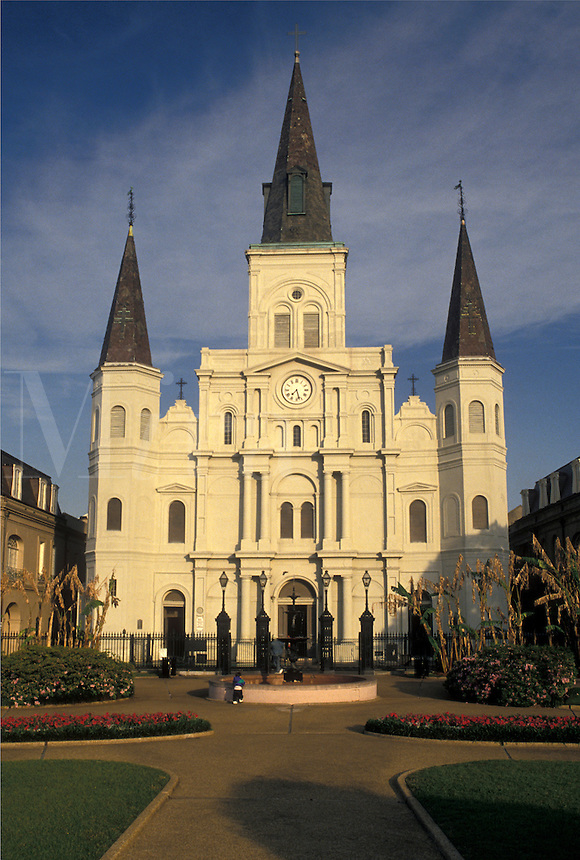 church, New Orleans, Saint Louis Cathedral, French Quarter, Louisiana, LA, St. Louis Cathedral in Jackson Square in the French Quarter of New Orleans.