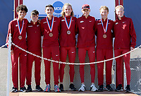 NWA Democrat-Gazette/DAVID GOTTSCHALK Members of the University of Arkansas Men's Cross Country team at the podium Friday, November 15, 2019, at the NCAA South Regional at the Agri Park course in Fayetteville. The Razorback men finished second overall in the team division.