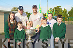 OVER THE MOON: The Lochlainn family from listowel got to meet their hero tadgh Kennelly with the Sam Maguir Cup at gaeilscoil Lios Tuathail on Wednesday they were: Amanda Ni?, Bobby,Lee George and Mick O'Lochlainn and baby Sean with his Mother Amanda Ni? Lochlainn...