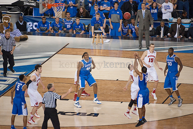 Kentucky Wildcats guard Aaron Harrison (2) scores the winning 3 point shot during the NCAA Final Four vs. Wisconsin at the AT&T in Arlington, Tx., on Saturday, April 5, 2014. Photo by Eleanor Hasken | Staff
