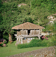 Small elivated hut in the village of Llanes, Asturias, Spain