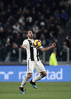 Calcio, Serie A: Juventus - Chievo Verona, Turin, Allianz Stadium, January 21, 2019.<br /> Juventus' captain Giorgio Chiellini in action during the Italian Serie A football match between Juventus and Chievo Verona at Torino's Allianz stadium, January 21, 2019.<br /> UPDATE IMAGES PRESS/Isabella Bonotto