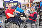 James Johnston, Liam McDonagh and Sarah Flynn who were doing a rowing challenge in the Square on Friday which involves rowing the equivalent of the length of the river Shannon (360k) on Friday last to raise funds for Camp Ability.