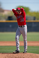 Los Angeles Angels starting pitcher Matt Ball (45) prepares to deliver a pitch during an Extended Spring Training game against the Chicago Cubs at Sloan Park on April 14, 2018 in Mesa, Arizona. (Zachary Lucy/Four Seam Images)