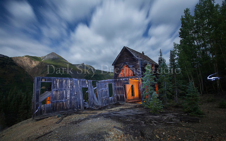 Spooky! Red Mountain Pass mine ruins by night