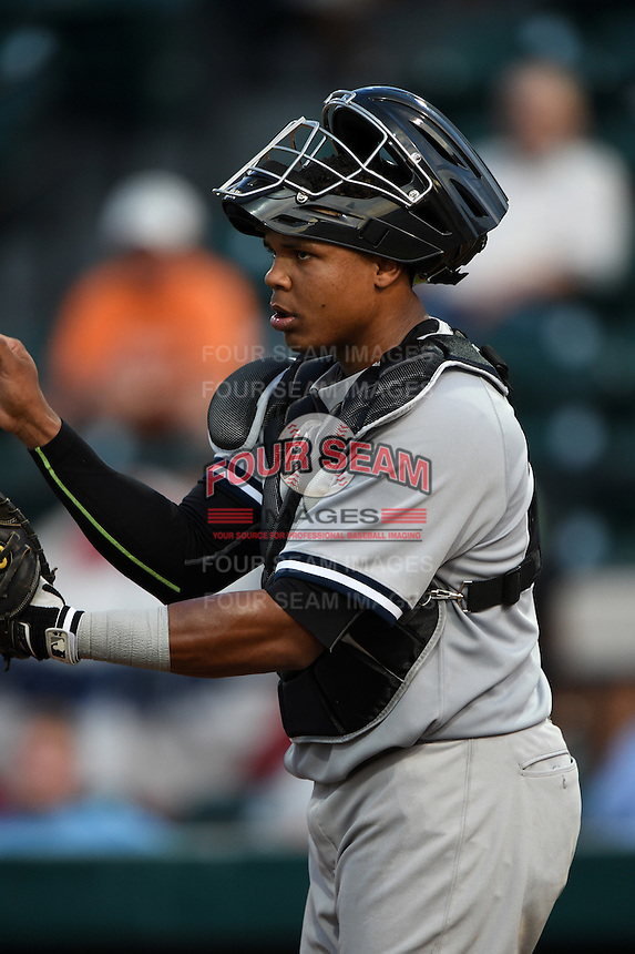 Tampa Yankees catcher Isaias Tejeda (27) during a game against the Lakeland Flying Tigers on April 9, 2015 at Joker Marchant Stadium in Lakeland, Florida.  Tampa defeated Lakeland 2-0.  (Mike Janes/Four Seam Images)
