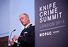 Sir Bernard Hogan Howe <br /> Chief Police Commissioner of the Metropolitan Police  addresses the first Knife Crime Summit <br /> London 2016 <br /> MOPAC <br /> at Friend's Meeting House, London, Great Britain <br /> 13th October 2016 <br /> <br /> <br /> Sir Bernard Hogan Howe <br /> <br /> <br /> Photograph by Elliott Franks <br /> Image licensed to Elliott Franks Photography Services