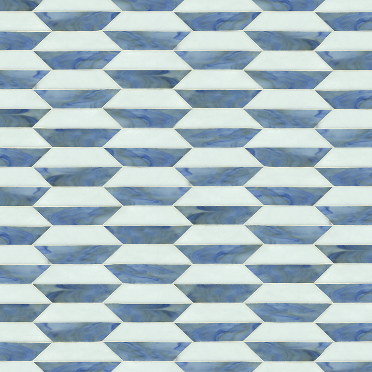 Fairfax 1, a waterjet jewel glass mosaic shown in glass Blue Spinel and Moonstone, is part of the Silk Road® collection by New Ravenna.