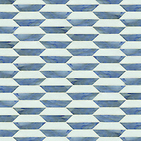 Fairfax 1, a waterjet jewel glass mosaic, shown in glass Blue Spinel and Moonstone.