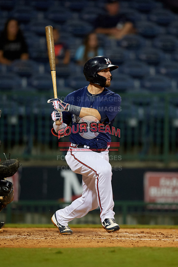 Mississippi Braves Daniel Lockhart (17) at bat during a Southern League game against the Jacksonville Jumbo Shrimp on May 4, 2019 at Trustmark Park in Pearl, Mississippi.  Mississippi defeated Jacksonville 2-0.  (Mike Janes/Four Seam Images)