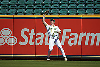 Baylor Bears right fielder Mack Mueller (50) catches a fly ball during the game against the Missouri Tigers in game one of the 2020 Shriners Hospitals for Children College Classic at Minute Maid Park on February 28, 2020 in Houston, Texas. The Bears defeated the Tigers 4-2. (Brian Westerholt/Four Seam Images)
