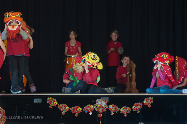 El Cerrito CA 2nd graders putting on show for Chinese New Year's celebration