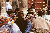La Paz, Bolivia. Group of Aymara women wearing traditional hats and clothes.