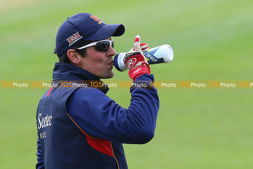 Alastair Cook of Essex takes a drink during the warm up ahead of Worcestershire CCC vs Essex CCC, Specsavers County Championship Division 2 Cricket at New Road on 1st May 2016